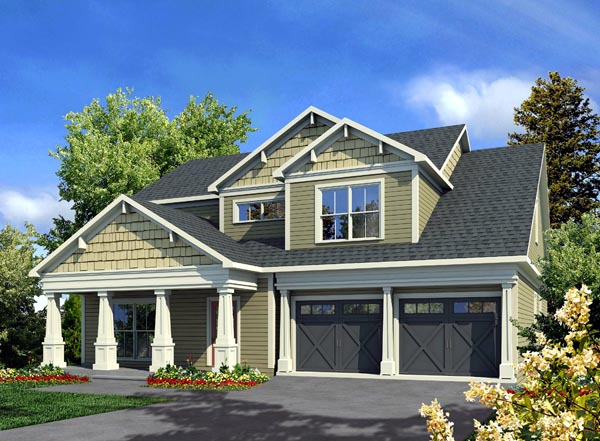 Traditional , Craftsman House Plan 58233 with 3 Beds, 3 Baths, 2 Car Garage Elevation