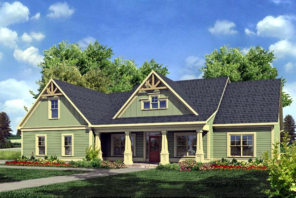 Craftsman, Traditional House Plan 58234 with 3 Beds, 3 Baths, 2 Car Garage Elevation
