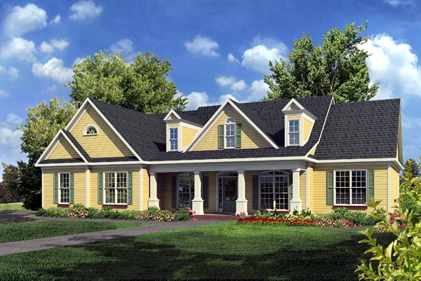 Craftsman, Traditional House Plan 58235 with 3 Beds, 3 Baths, 2 Car Garage Elevation