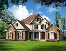 Traditional House Plan 58236 with 4 Beds, 4 Baths, 2 Car Garage Elevation