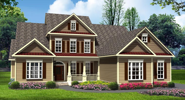 Craftsman, Traditional House Plan 58238 with 4 Beds, 4 Baths, 3 Car Garage Elevation