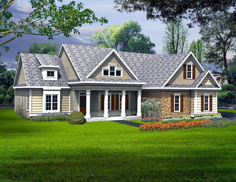 Craftsman, Traditional House Plan 58239 with 3 Beds, 2 Baths, 2 Car Garage Front Elevation