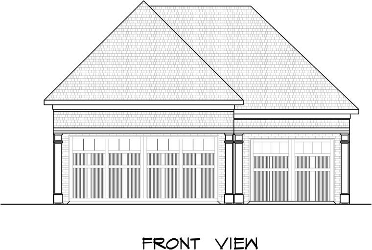 3 Car Garage Plan 58245 Elevation