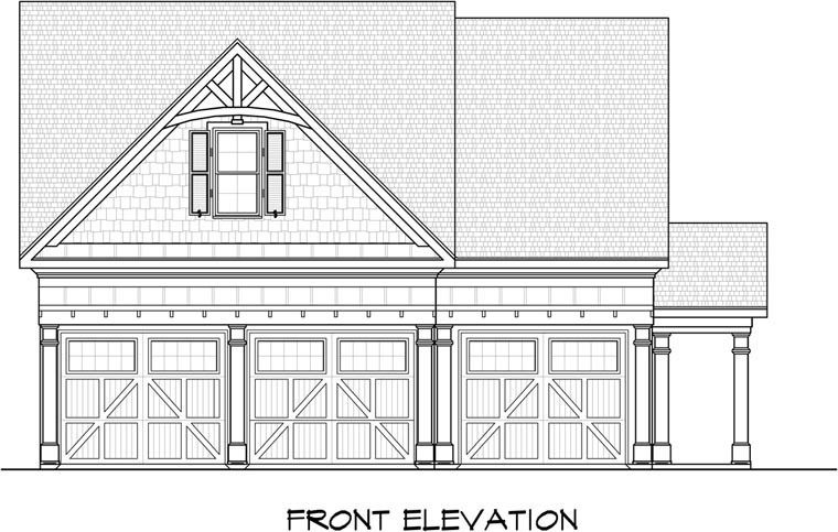 3 Car Garage Plan 58246 Elevation