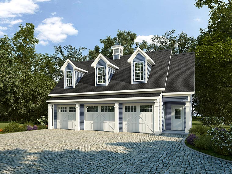Colonial, Country, Southern 3 Car Garage Apartment Plan 58248 with 1 Beds, 1 Baths Elevation