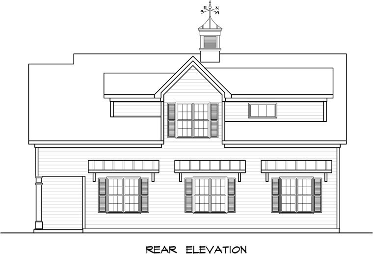 Colonial, Country, Southern 3 Car Garage Apartment Plan 58248 with 1 Beds, 1 Baths Rear Elevation