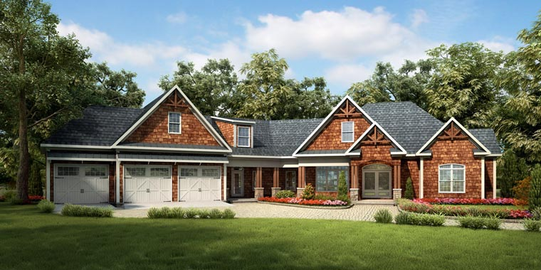 Craftsman, Historic House Plan 58249 with 4 Beds, 5 Baths, 3 Car Garage Elevation