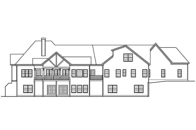 Craftsman, Historic House Plan 58249 with 4 Beds, 5 Baths, 3 Car Garage Rear Elevation
