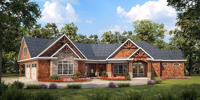 Craftsman, Traditional House Plan 58251 with 3 Beds, 3 Baths, 2 Car Garage Elevation