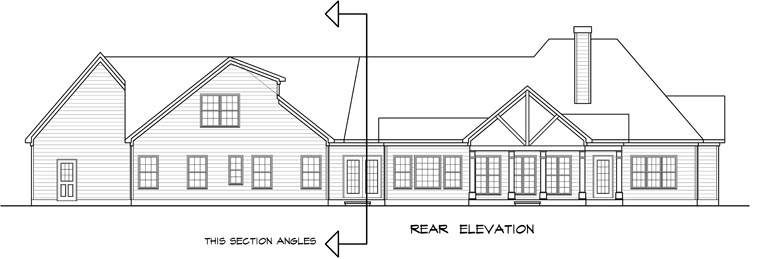 Craftsman, Traditional House Plan 58252 with 3 Beds , 4 Baths , 2 Car Garage Rear Elevation
