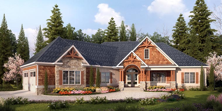Craftsman House Plan 58253 with 4 Beds , 4 Baths , 2 Car Garage Elevation