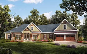 Craftsman House Plan 58254 with 4 Beds, 3 Baths, 2 Car Garage Elevation