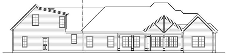 Craftsman House Plan 58254 with 4 Beds, 3 Baths, 2 Car Garage Rear Elevation