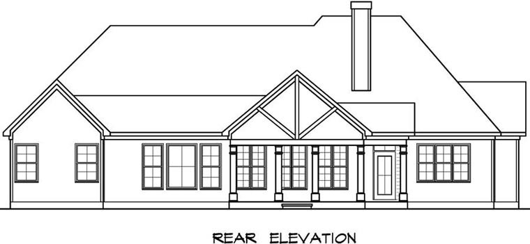 Craftsman House Plan 58257 Rear Elevation