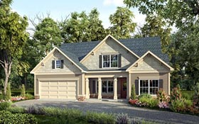 Craftsman , Traditional House Plan 58259 with 4 Beds, 3 Baths, 2 Car Garage Elevation