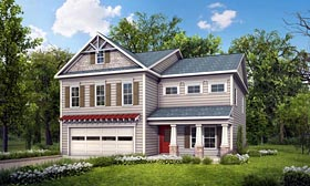 Craftsman , Traditional House Plan 58264 with 4 Beds, 3 Baths, 2 Car Garage Elevation