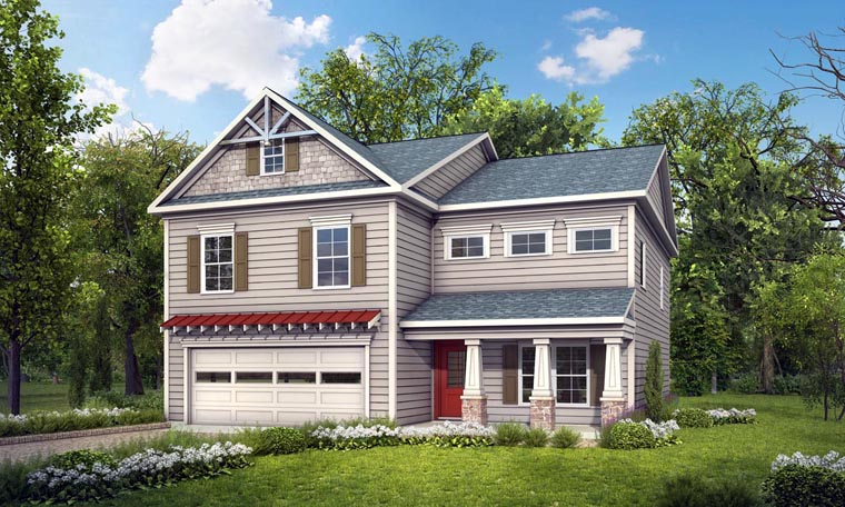 Bungalow, Craftsman, Traditional House Plan 58265 with 4 Beds, 3 Baths, 2 Car Garage Elevation