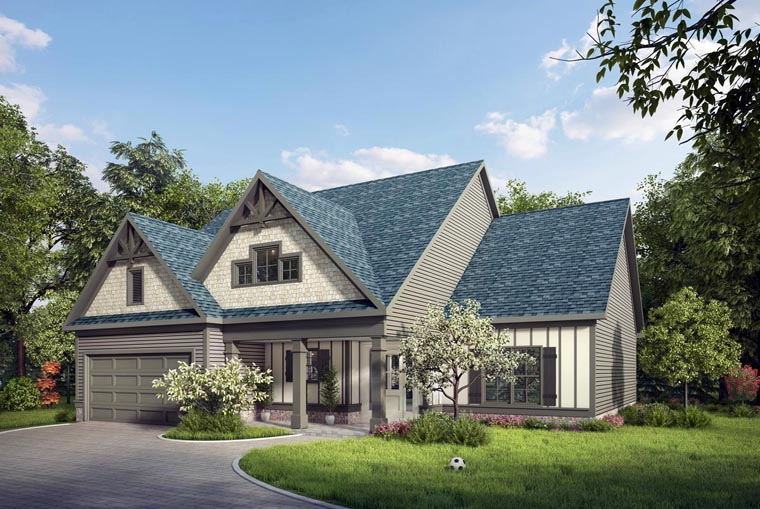 Craftsman, Traditional House Plan 58267 with 4 Beds, 3 Baths, 2 Car Garage Elevation