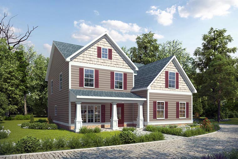 House Plan 58270 | Style Plan with 2245 Sq Ft, 4 Bedrooms, 3 Bathrooms, 2 Car Garage Elevation
