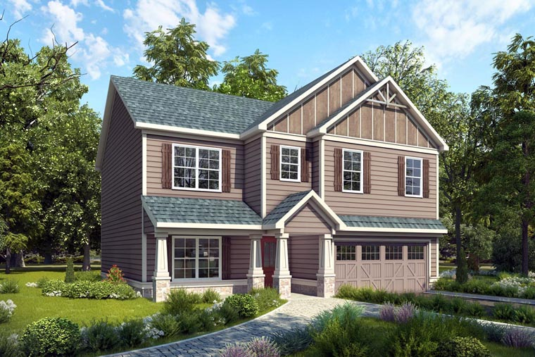 Craftsman , Traditional House Plan 58271 with 4 Beds, 3 Baths, 2 Car Garage Elevation
