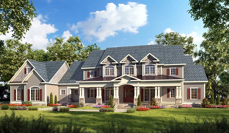 Country, Craftsman, Farmhouse, Southern, Traditional House Plan 58272 with 4 Beds, 5 Baths, 3 Car Garage Elevation