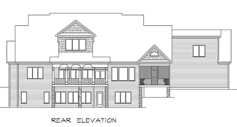 Country Craftsman Farmhouse Southern Traditional Rear Elevation of Plan 58272