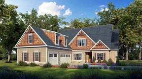 House Plan 58277 | Craftsman, Traditional Style House Plan with 3134 Sq Ft, 4 Bed, 4 Bath, 3 Car Garage Elevation