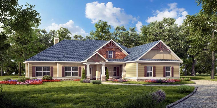 House Plan 58279 | Craftsman, Traditional Style House Plan with 2435 Sq Ft, 4 Bed, 3 Bath, 2 Car Garage Elevation