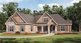 Bungalow , Craftsman House Plan 58281 with 4 Beds, 4 Baths, 2 Car Garage Elevation