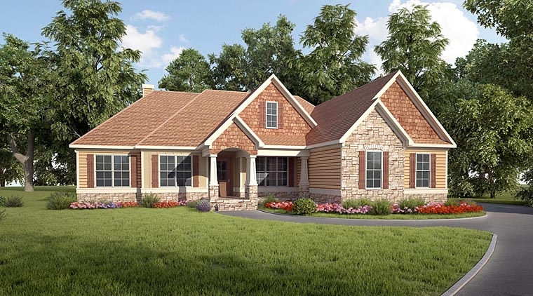 Craftsman House Plan 58282 with 3 Beds, 3 Baths, 2 Car Garage Elevation