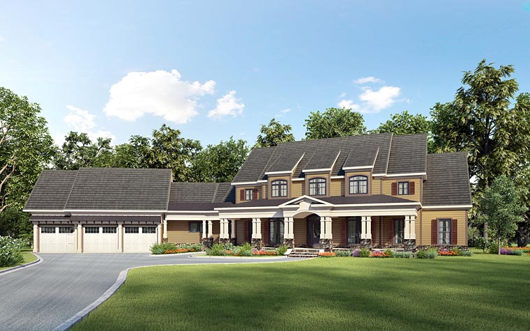 Country , Southern House Plan 58285 with 4 Beds, 5 Baths, 3 Car Garage Elevation