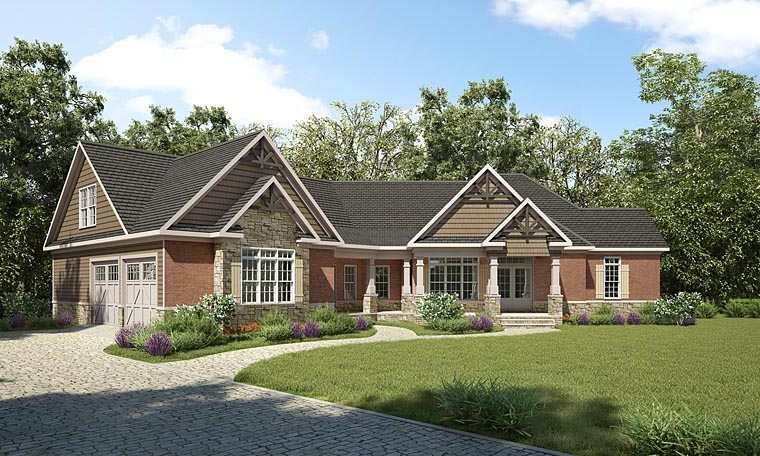 House Plan 58290 | Cottage Country Craftsman Traditional Style Plan with 2767 Sq Ft, 3 Bedrooms, 3 Bathrooms, 2 Car Garage Elevation