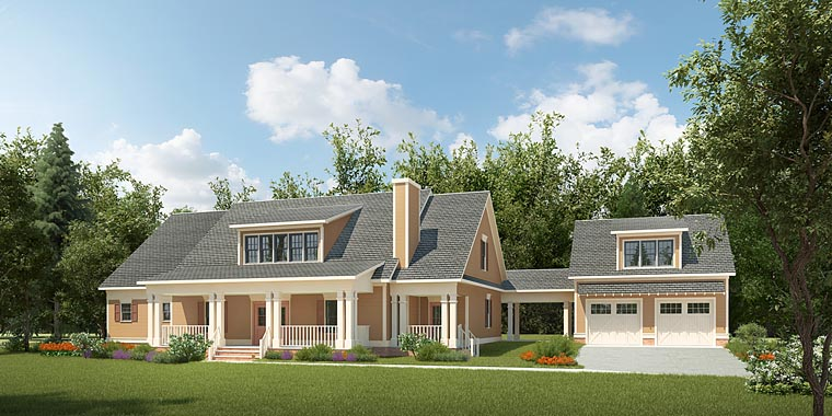 Colonial Contemporary Country Southern Elevation of Plan 58292