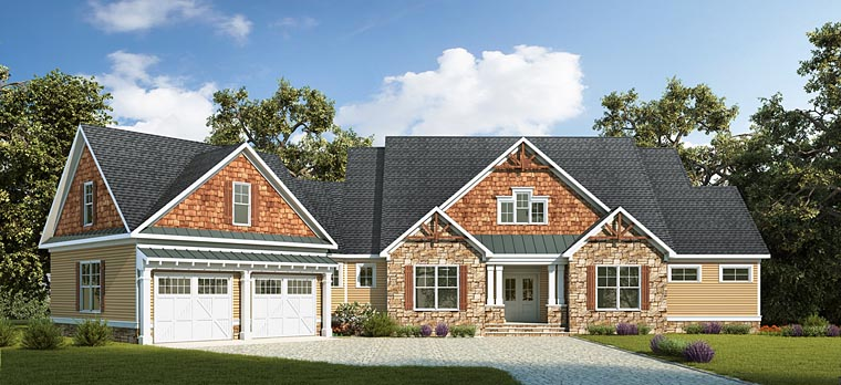 Country, Craftsman, Traditional House Plan 58294 with 4 Beds, 4 Baths, 2 Car Garage Elevation