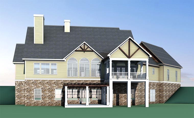 Country, Craftsman, Traditional House Plan 58294 with 4 Beds, 4 Baths, 2 Car Garage Rear Elevation