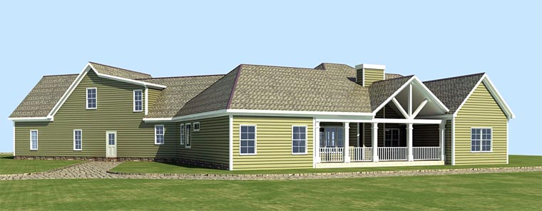 Cottage Country Craftsman House Plan 58297 Rear Elevation