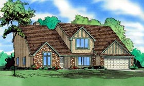 Traditional House Plan 58409 with 4 Beds, 4 Baths, 2 Car Garage Elevation