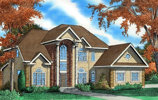 House Plan 58412 | European Style Plan with 3154 Sq Ft, 3 Bedrooms, 4 Bathrooms, 2 Car Garage Elevation