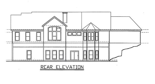 Traditional House Plan 58416 with 4 Beds, 5 Baths, 3 Car Garage Rear Elevation