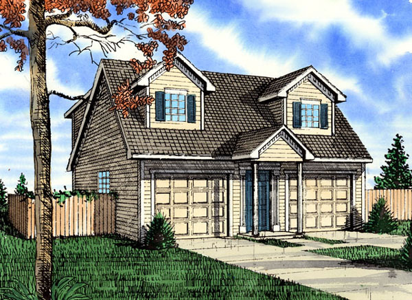 Colonial 2 Car Garage Plan 58417 Elevation