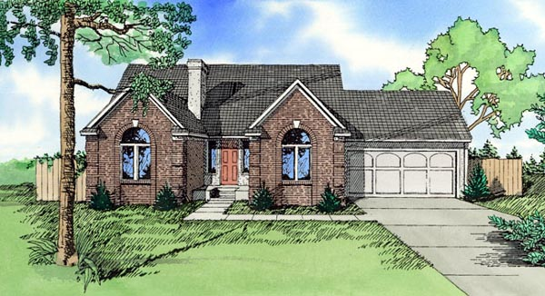 House Plan 58454 with 3 Beds, 3 Baths, 2 Car Garage Elevation