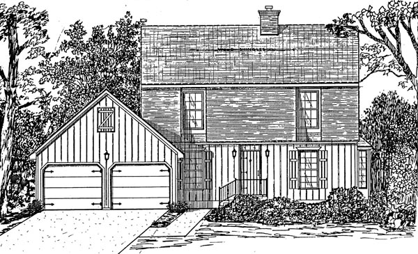 House Plan 58455 with 4 Beds, 3 Baths, 2 Car Garage Elevation