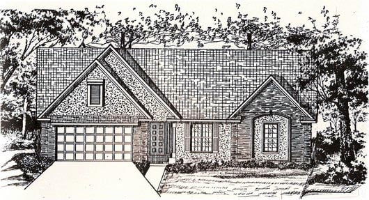 House Plan 58459 with 3 Beds, 2 Baths, 2 Car Garage Elevation