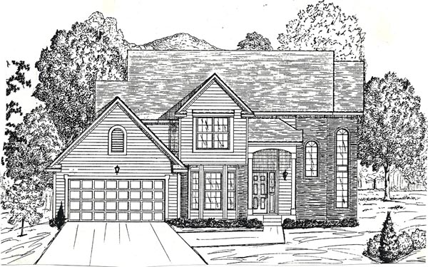 House Plan 58461 with 4 Beds, 3 Baths, 2 Car Garage Elevation