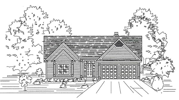 House Plan 58481 with 4 Beds, 3 Baths, 2 Car Garage Elevation