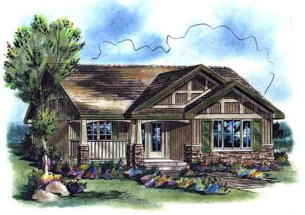 Craftsman, Narrow Lot, One-Story House Plan 58507 with 2 Beds, 1 Baths Elevation