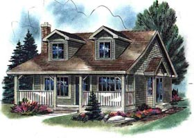 Cape Cod House Plan 58508 with 2 Beds, 1 Baths Elevation