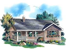 Ranch House Plan 58511 with 3 Beds, 1 Baths Elevation