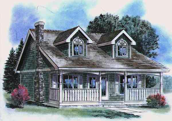 Cape Cod House Plan 58514 with 2 Beds, 1 Baths Elevation