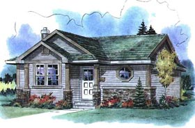 Ranch House Plan 58517 with 1 Beds, 1 Baths Elevation